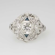 Intricate 1930's .60ct t.w. Art Deco Old European Cut Diamond & Sapphire Engagement Ring Platinum | Antique & Estate Jewelry | Jewelry Finds