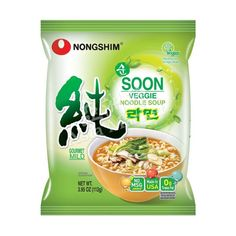 NongShim Soon Noodle Soup, Veggie, Ounce (Pack of The same delicious noodle soup, but with the milder flavor created from all vegan ingredients Registered with the Vegan Society Milder shin ramyun spicy flavor trans Fat Made in USA Veggie Noodle Soup, Veggie Noodles, Ramen Noodles, Asian Noodles, Gourmet Recipes, Snack Recipes, Snacks, Vegan Recipes, Vegan Ramen