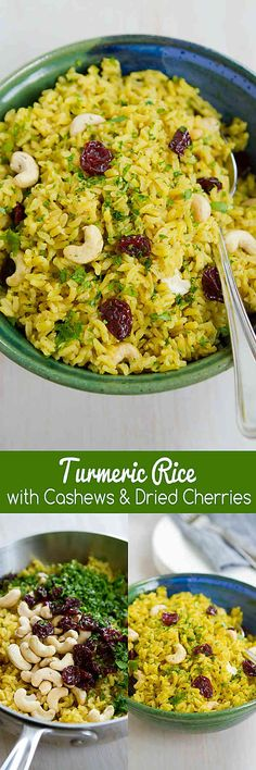 Kick up your side dish game with this Turmeric Rice recipe, complete with crunchy cashews and sweet-tart cherries. Vegan and gluten free. 108 calories and 3 Weight Watchers SmartPoints