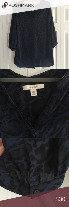 ♥️SALE♥️ Black and navy leopard print blouse Black and navy leopard print blouse. 3/4 sleeve with leather style lining. A little longer in the back. Vneck is closed. Buttons on sleeves. Sejour Tops Blouses