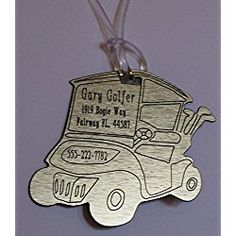 Custom, Personalized, Golf Cart Shaped, Golf Bag Property Id Tag, Luggage Tag or Key Tag - Metallic. You Decide What Information You Want on It!