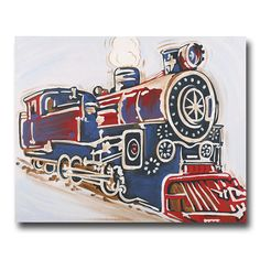 #7 Vintage Train Canvas Red, White, and Blue and Transportation too: all popular boys room themes! We love a vintage look, and so do our customers!