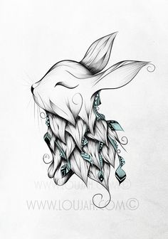 Cute bunny tat                                                                                                                                                                                 More Boho Tattoos, Feather Tattoos, Tatoos, Doodle Patterns, Boho Inspiration, Cute Bunny, Future Tattoos, Tatting, Rabbit