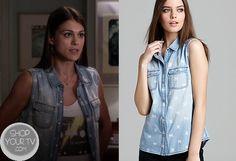 Shop Your Tv: Pretty Little Liars: Season 4 Episode 12 Paige's Denim Skull Print Shirt