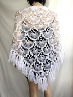 Items similar to White Wedding Shawl / Crochet Shawl / Bridal Shawl / Bridal Shrug / Winter Wedding / Bridal Bolero / Bridal Cover Up / Winter Accessories on Etsy Tesettür Eşarp Modelleri 2020 Crochet Shawls And Wraps, Crochet Scarves, Crochet Clothes, Crochet Poncho, Hairpin Lace Crochet, Bridal Shrug, Bridal Cover Up, Mode Crochet, Crochet Wedding