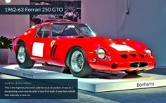 Ferrari 250 GTO and the other 9 most expensive cars sold at this years (2014) Pebble Beach auction.  CNN article.  http://money.cnn.com/gallery/autos/2014/08/20/pebble-beach-top-10-auction-sales/index.html