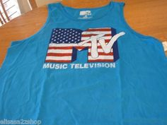 Men's Retro vintage American flag XL I Want My MTV music TV television tank top