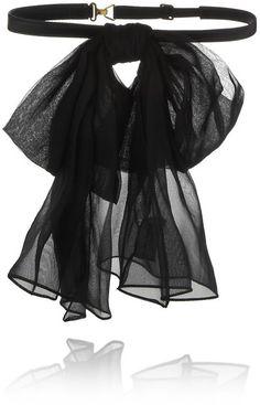 Saint Laurent Silk-chiffon and leather bow collar- Tuba TANIK Bow Accessories, Fashion Accessories, Sac Saint Laurent, Estilo Preppy, Azul Tiffany, Diy Fashion, Fashion Trends, Origami Fashion, Fashion Today