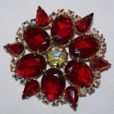 Big Vintage Prong Set Siam Ruby Red Rhinestone Brooch Pin Foiled Unfoiled Stones #unknown