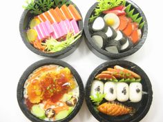 Dolls House Miniature Food 4 Sushi Wooden Japanese Lunch Box Set