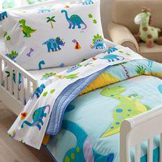 Dinosaurland Blue Green Dinosaur Toddler Bedding Comforter, Sheet Set or Bed in a Bag