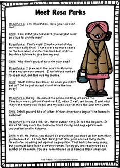 Rosa Parks mini-unit for Black History Month FREEBIE ...