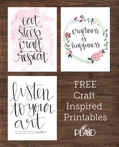 Three awesome FREE Wall Decor Printables! Awesome craft inspirations for your craft room, dorm room, or anything else. Put them in a custom DIY painted  frame as a special gift for your favorite crafter!