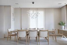 Decoração de: Sala de jantar; lustre pendente galhos; Casa de Valentina
