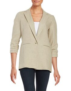 """<ul> <li>Lightweight linen shapes a smart, one-button style</li> <li>Notched collar</li> <li>Ruched three-quarter length sleeves</li> <li>Button front</li> <li>Front mock pockets</li> <li>Back slit</li> <li>Fully lined</li> <li>About 27"""" from shoulder to hem</li> <li>Linen</li> <li>Dry clean</li> <li>Imported</li> </ul>"""