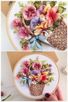 Ribbon Embroidery Victorian bouquet of colorful pansies in the basket is beautiful embroidery hoop wall art for your living room,can be a perfect housewarming gift for your friend or Anniversary gift for woman. It's ready to hang on the wall. Ribbon Embroidery Tutorial, Silk Ribbon Embroidery, Embroidery Hoop Art, Embroidery Stitches, Embroidery Designs, Embroidery Tattoo, Embroidery Books, Embroidery Boutique, Embroidery Supplies