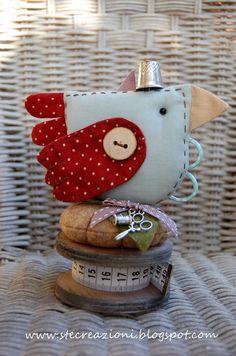 really cute bird pincushion