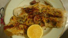Swai fish with onion, basil, garlic