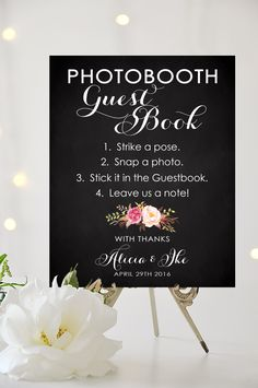 Photobooth Guest Book Sign - 8 x 10 or 11 x 14 sign - Personalized sign - Vintage Chalkboard Style - I Create and You Print by CharmingEndeavours on Etsy https://www.etsy.com/listing/265787854/photobooth-guest-book-sign-8-x-10-or-11