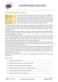Fichas de compresión lectora para primaria: La historia Leonardo Da Vinci