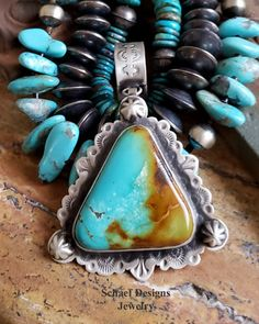 Large Kingman Turquoise Southwestern Pendant & necklaces by Schaef Designs Jewelry Kingman Turquoise, Turquoise Pendant, Turquoise Stone, Turquoise Jewelry, Silver Jewelry, Jewelry Shop, Custom Jewelry, Weird Jewelry, American Indian Jewelry