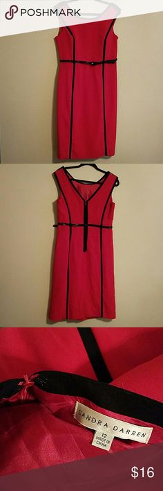 Red sleeveless dress with Belt Sandra Daren - V-neck back, attatched inside slip. Worn 1 time. Size 12 Sandra Daren Dresses Asymmetrical