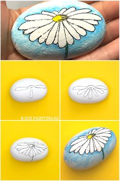 Create a watercolor effect with Posca paint pens or regular acrylic paints. This easy tutorial will walk you through a fun technique by painting a daisy rock. Watch the video and find out how easy this process is. It& perfect for rock painting beginners! Rock Painting Patterns, Rock Painting Ideas Easy, Rock Painting Designs, Paint Designs, Pebble Painting, Stone Painting, Diy Painting, Pour Painting, Matte Painting
