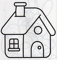 Bendito Fio Riscos template for appliqué house is part of Coloring sheets for kids - Preschool Coloring Pages, Easy Coloring Pages, Coloring Sheets For Kids, Easy Butterfly Drawing, Easy Flower Drawings, Easy Drawings For Beginners, Easy Drawings For Kids, Applique Templates, Applique Patterns