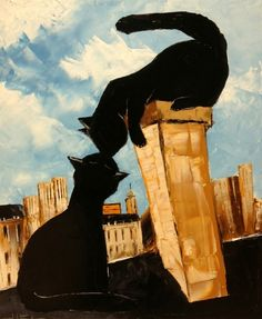 "ATELIER DE JIEL; Oil 2013 Painting ""Black the black cat on Paris's roofs"""