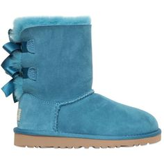 Ugg Australia Kids-girls Bailey Bow Shearling Boots ($165) ❤ liked on Polyvore featuring shoes, boots, uggs and petrol