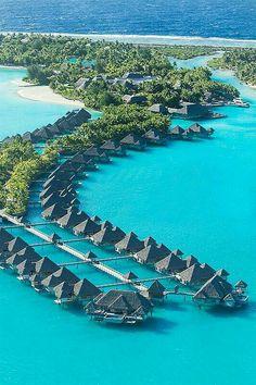 Regis Bora Bora Resort—Aerial This is on my bucket list of places to vacation. Bora Bora Resorts, Hotels And Resorts, Beach Resorts, Vacation Places, Vacation Destinations, Dream Vacations, Places To Travel, Disney Vacations, Romantic Vacations