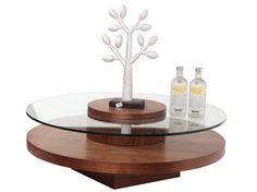 """Beverly Hills REVERE CIRCLE Coffee Table - Circle Coffee table. Rotating Top CT with 12mm Glass Top and Thick Bottom Shelf . Dimensions: 39"""" x 14"""""""