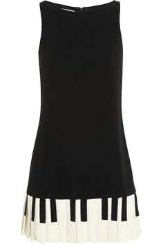 Almost better than the necktie! Moschino Cheap and Chic|Piano key-print stretch-crepe mini dress
