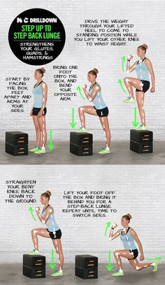 Work your glutes, quads and hamstrings with Step Up to Step Back Lounge. #training #drills #nike