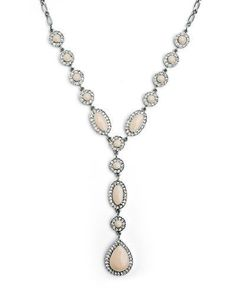 Stunning silver drop Y-necklace, featuring cream enamel and crystals. |Jewelry - Daily Deals|