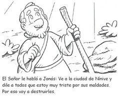RECURSOS PARA LA ESCUELA DOMINICAL: Historia bíblica de Jonás para colorear