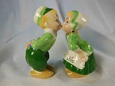 "Vintage Ceramic  Dutch Boy and Girl Kissing  Salt Pepper Shakers  RB 4 3/4"""