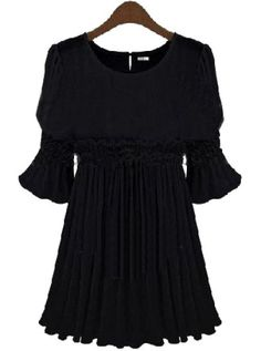 Black Short Sleeve Pleated Chiffon Dress pictures