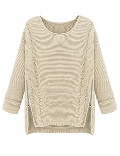 PrettyGuide Women Long Sleeve Side Zipper Cable Knit Pullovers Sweater Beige PrettyGuide http://www.amazon.com/dp/B00MHFDP6W/ref=cm_sw_r_pi_dp_wLDlub1CDM1PH