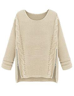 PrettyGuide Women Long Sleeve Side Zipper Cable Knit Pullovers Sweater Beige PrettyGuide http://www.amazon.com/dp/B00MHFDP6W/ref=cm_sw_r_pi_dp_wLDlub1CDM1PH
