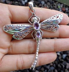 beautiful sterling/amethyst dragonfly