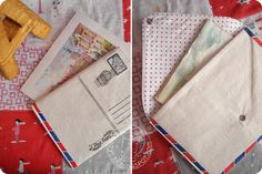 marysza, envelope, fabric, post card, sewing, sharpie, news, stationery,