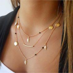 11e33390b258 Multi-Layer Golden Bar Necklace. Elegant and trendy