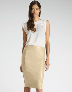The Row Norick leather pencil skirt, The Row top, Eddie Borgo ring ...