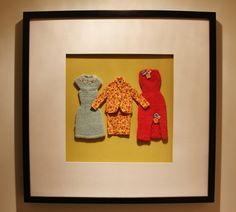 Vintage Barbie Clothing by Modmissy in frame. Cute idea for preserving and displaying vintage clothes provided they survived!