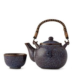 """The name of this purple, porcelain tea set means """"eggplant"""" in French."""