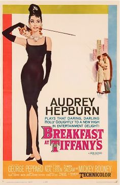 Breakfast at Tiffany's is a 1961 romantic comedy film starring Audrey Hepburn and George Peppard, directed by Blake Edwards and released by Paramount Pictures. Vintage Films, Posters Vintage, Best Movie Posters, Classic Movie Posters, Original Movie Posters, Classic Movies, Original Song, 1950s Posters, Cinema Posters