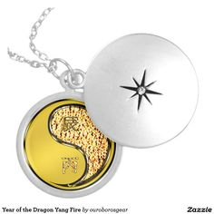 Year of the Dragon Yang Fire Round Locket Necklace
