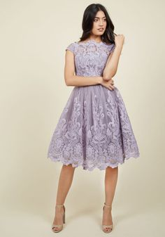 Exquisite Elegance Lace Dress in Lavender - Lavender, Solid, Embroidery, Special Occasion, Wedding, Party, Bridesmaid, Homecoming, Vintage Inspired, 50s, Fit & Flare, Short Sleeves, Woven, Lace, Tulle, Better, Long, Variation, Prom, Wedding Guest
