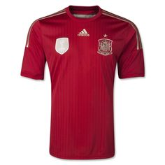 adidas has unveiled the 2014 World Cup home kit for defending world and European champions Spain.The new La Roja strip will be available at the following online retailers leading into next year's World Cup in Brazil.